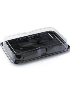 DS17C - Medium Rectangular Black Buffet Tray & Lid Combo
