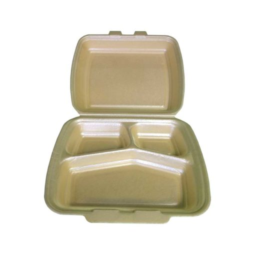 HP4/3 3 Compartment Polystyrene takeaway box